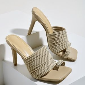 Shoes - Toe Loop Strappy Heeled Sandal Mules